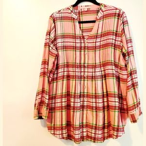 14/16 Woman Within Pink Plaid Cotton Flannel Shirt